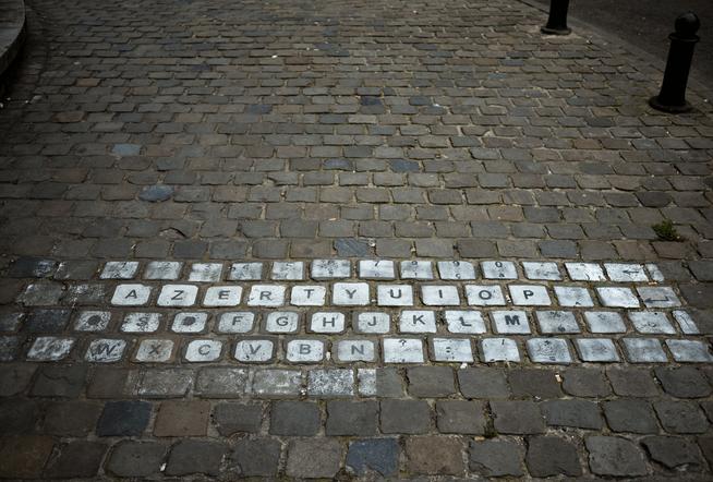 teclado en plena calle de bruselas
